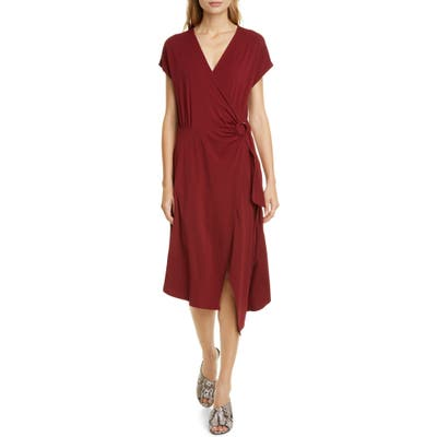 Joie Anjula Asymmetrical Wrap Dress, Red