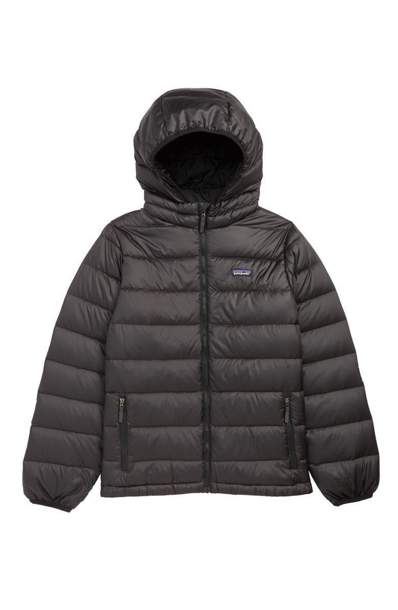 PATAGONIA Hooded Down Jacket, Main, color, BLACK