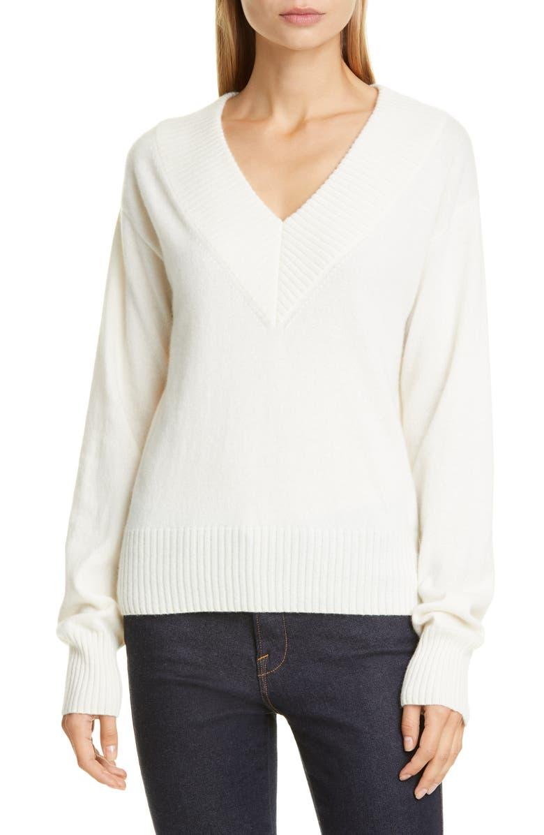 CO Essentials V-Neck Cashmere Sweater, Main, color, IVORY