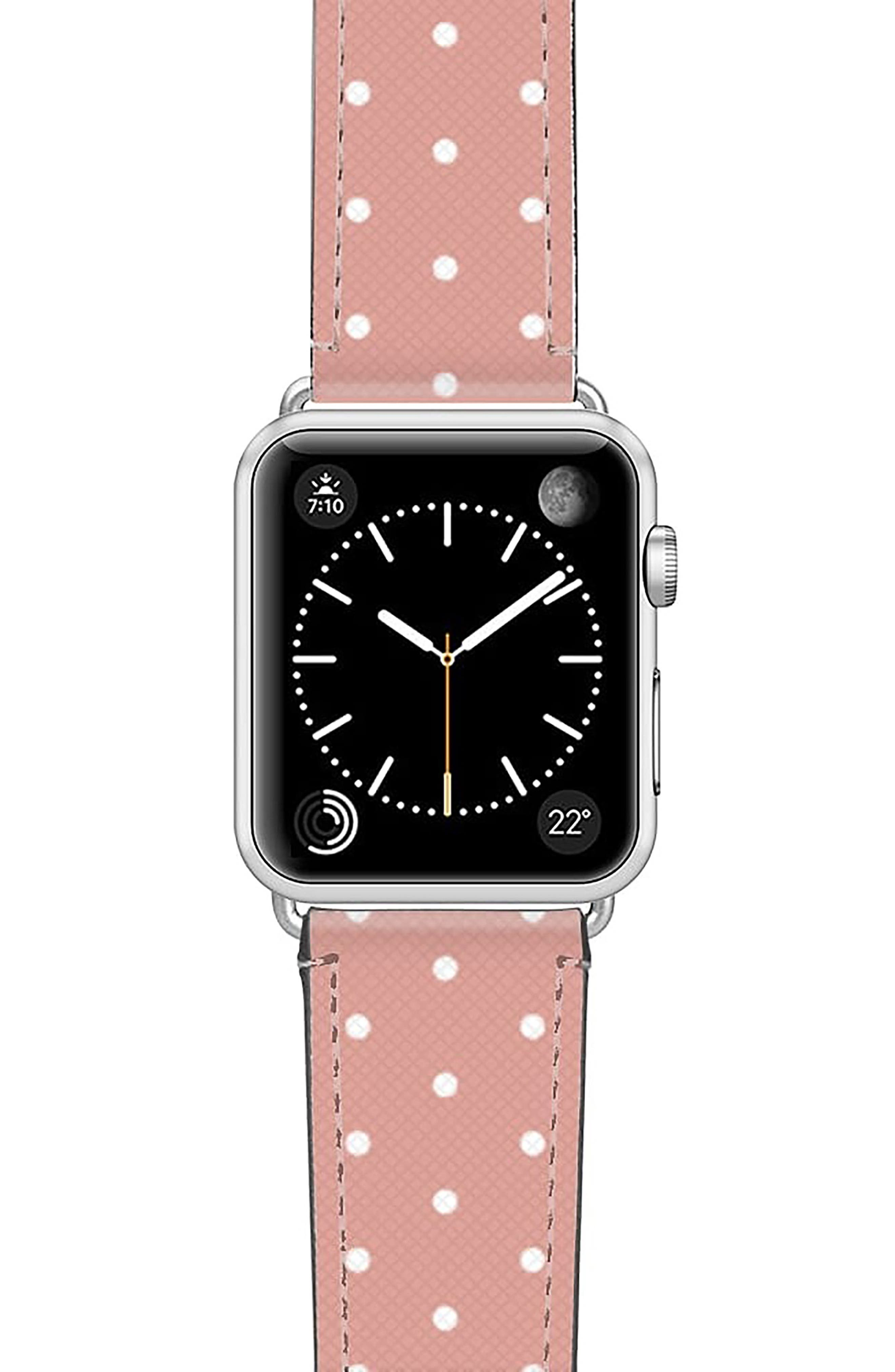 Polka Dots Saffiano Faux Leather Apple Watch Strap