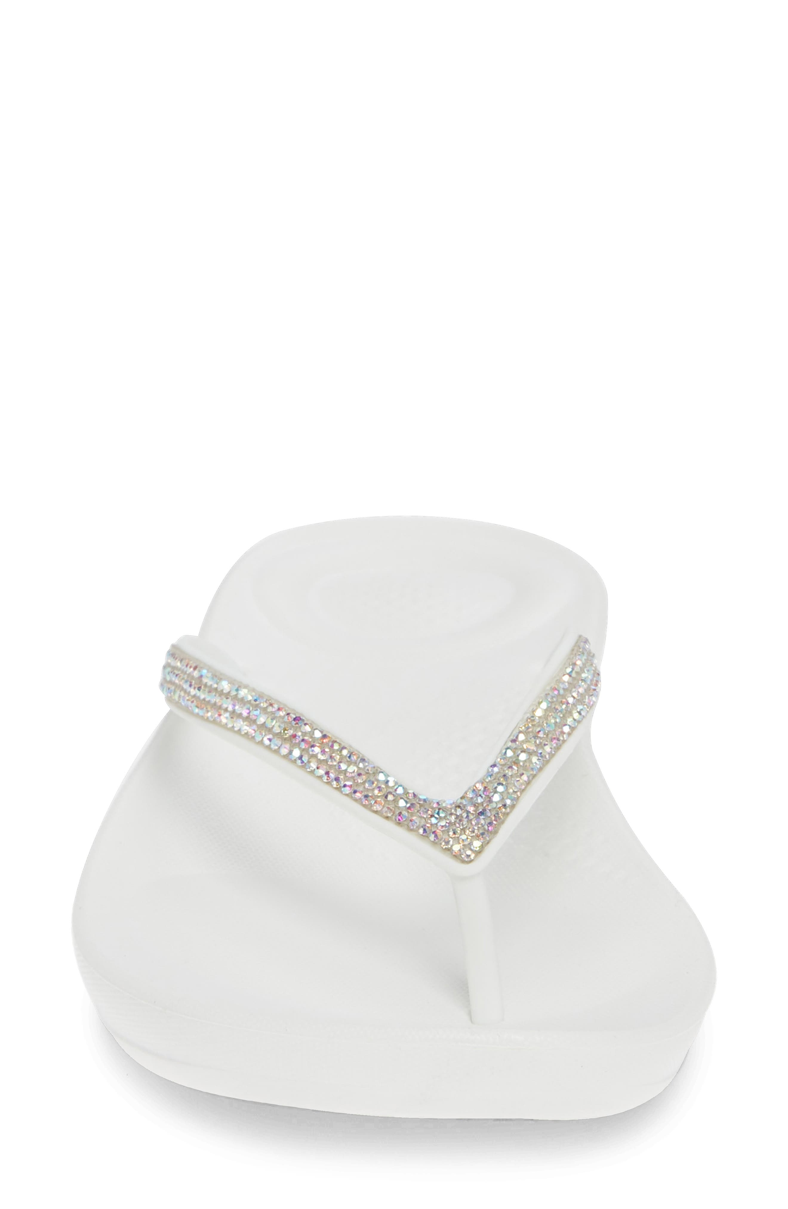 ,                             iQushion<sup>™</sup> Crystal Embellished Flip Flop,                             Alternate thumbnail 4, color,                             URBAN WHITE