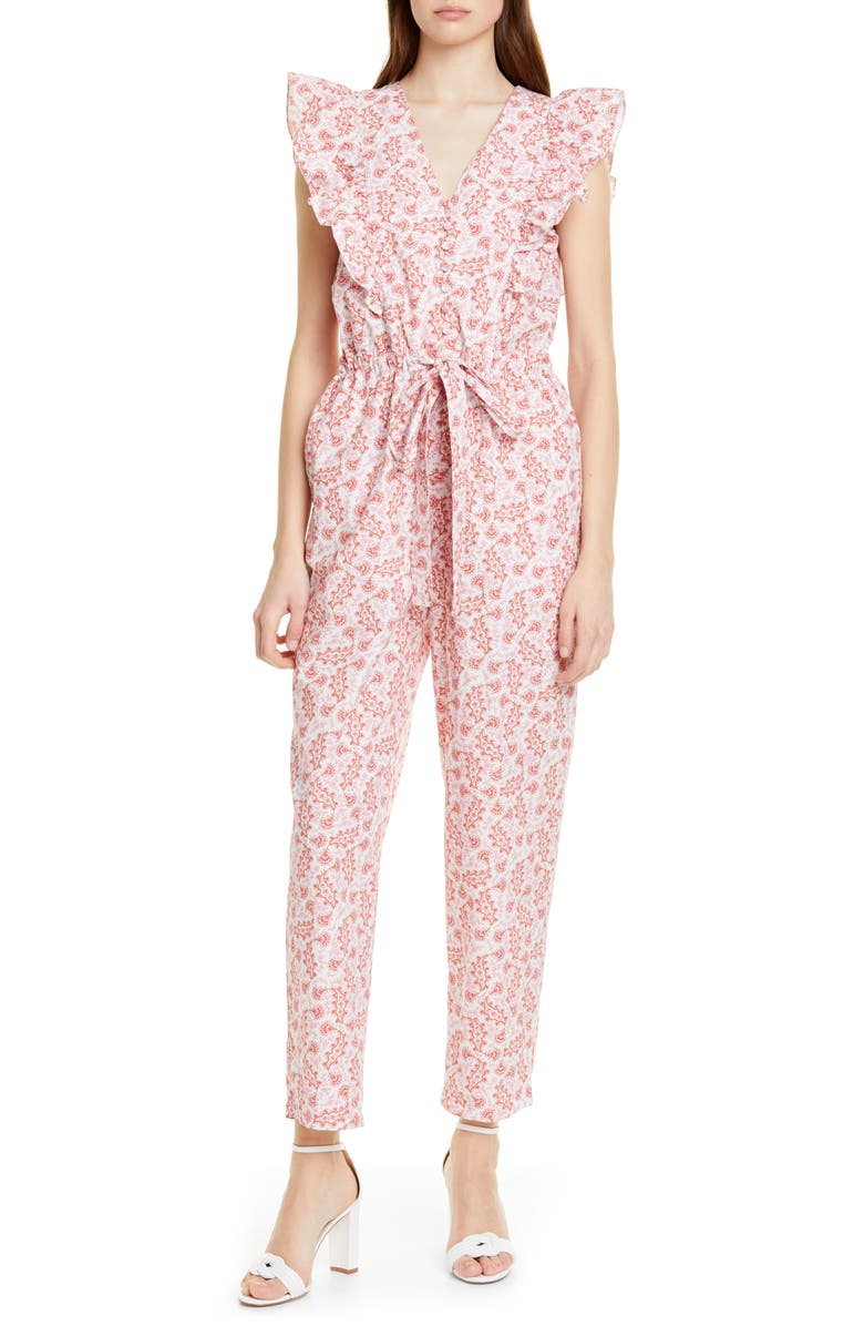 LA VIE REBECCA TAYLOR Wave Paisley Cotton Jumpsuit, Main, color, SOFT SCARLET COMBO