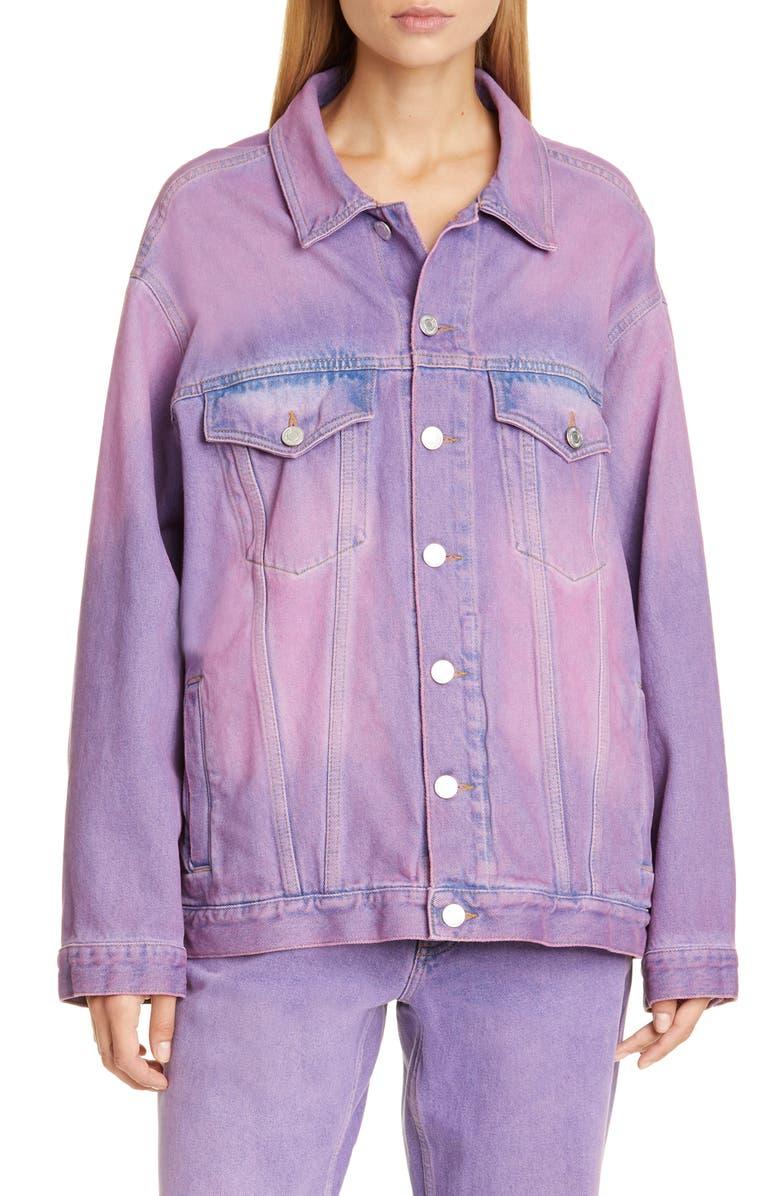MARTINE ROSE Oversize Denim Jacket, Main, color, PURPLE