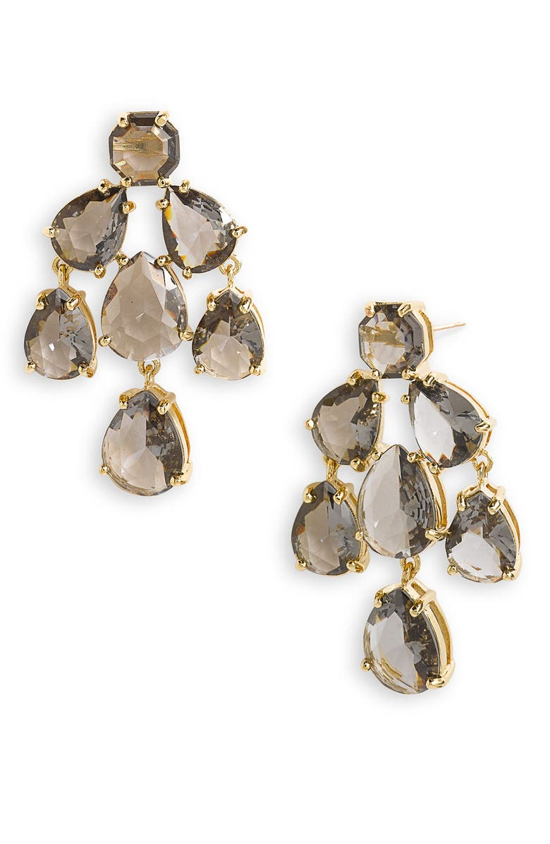 KATE SPADE NEW YORK faceted chandelier statement earrings, Main, color, 001