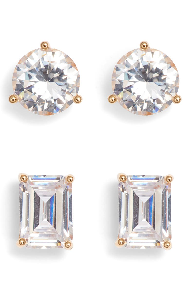 NORDSTROM Set of 2 Cubic Zirconia Stud Earrings, Main, color, CLEAR- GOLD
