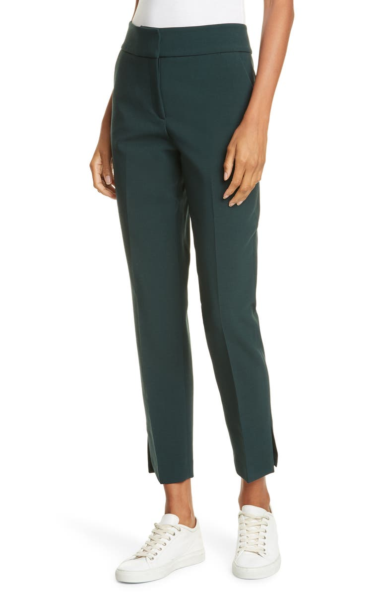 JUDITH & CHARLES Takashi Stretch Wool Blend Ankle Pants, Main, color, DARK GREEN