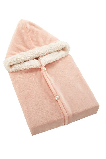 Image of Chic Home Bedding Aella Faux Shearling Trim Flannel Snuggle Hoodie - Blush