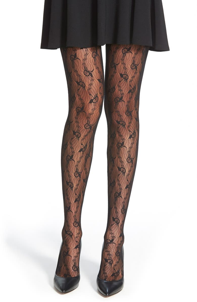 WOLFORD 'Lilie' Floral Chevron Tights, Main, color, 002