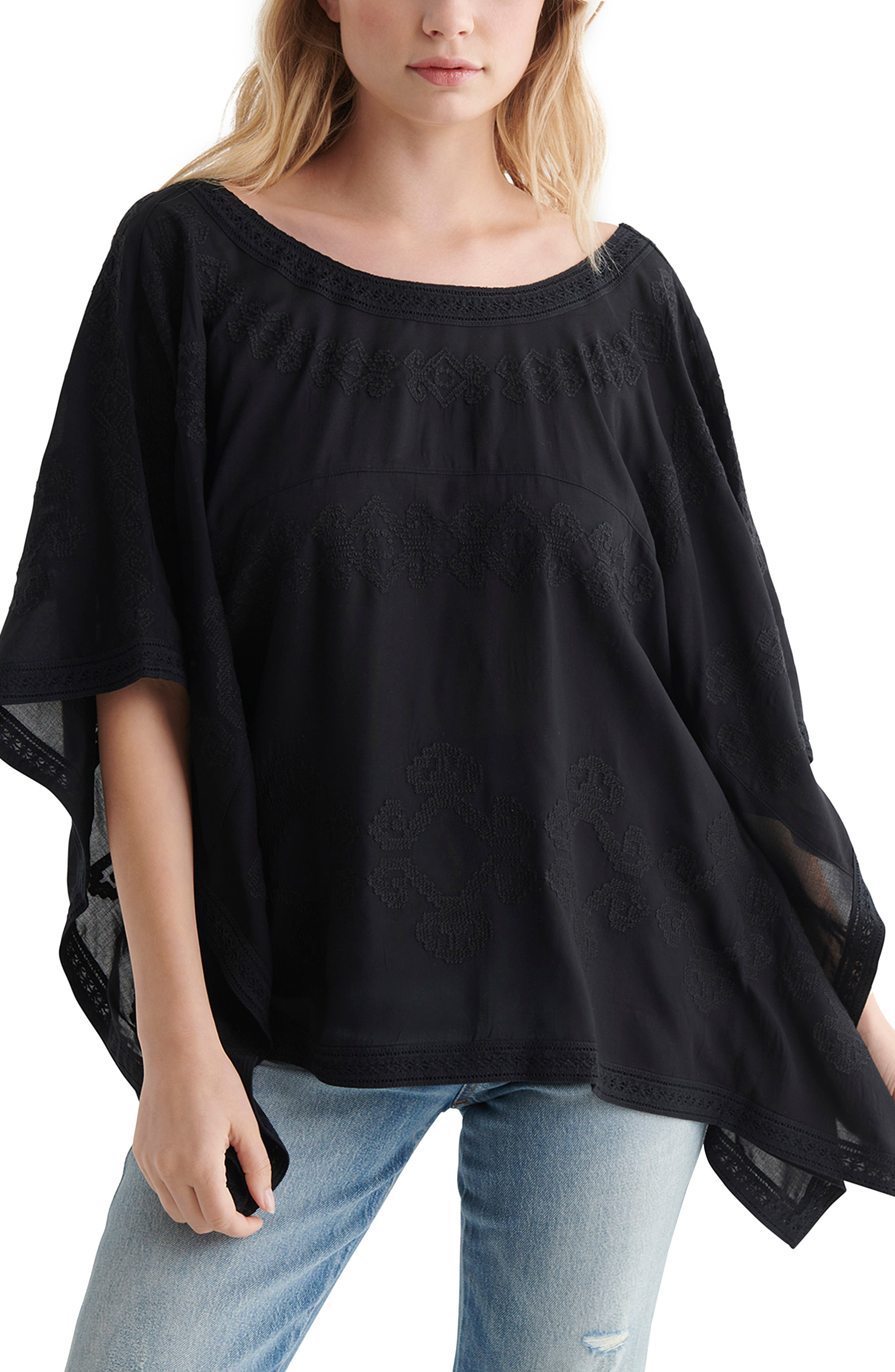 Lace-Up Back Caftan Top