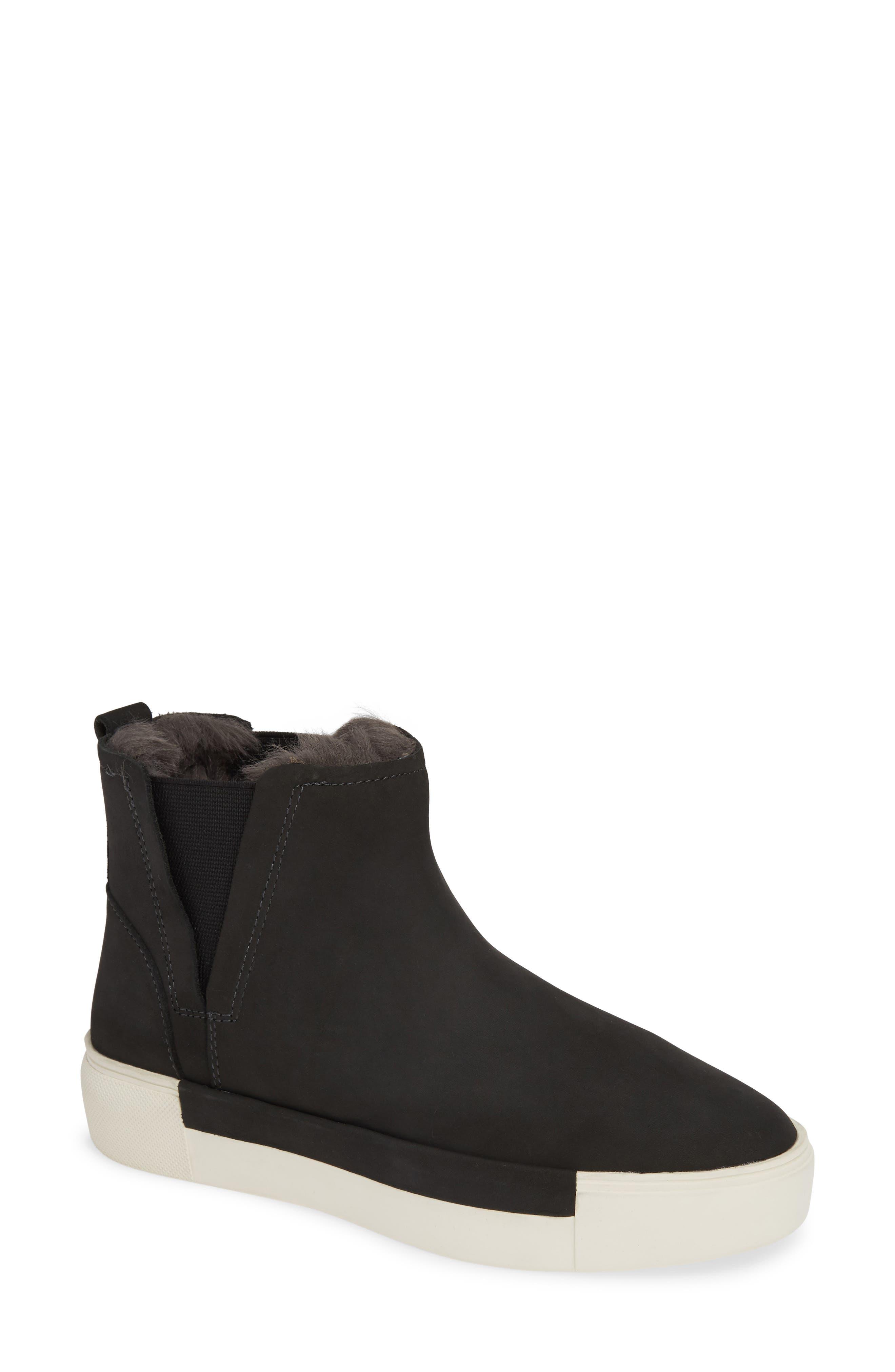 Jslides Val Faux Fur Lined Platform Sneaker, Grey