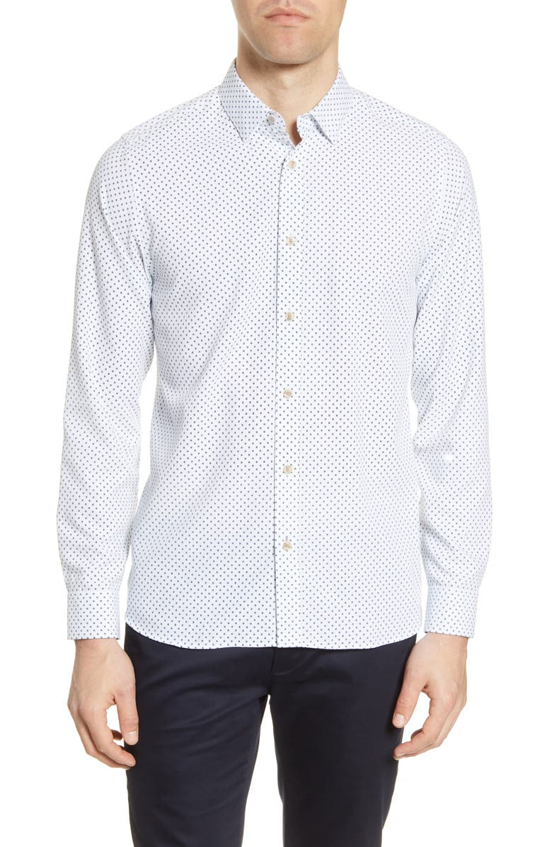 TED BAKER LONDON Polynosic Slim Fit Geo Print Long Sleeve Button-Up Shirt, Main, color, 110