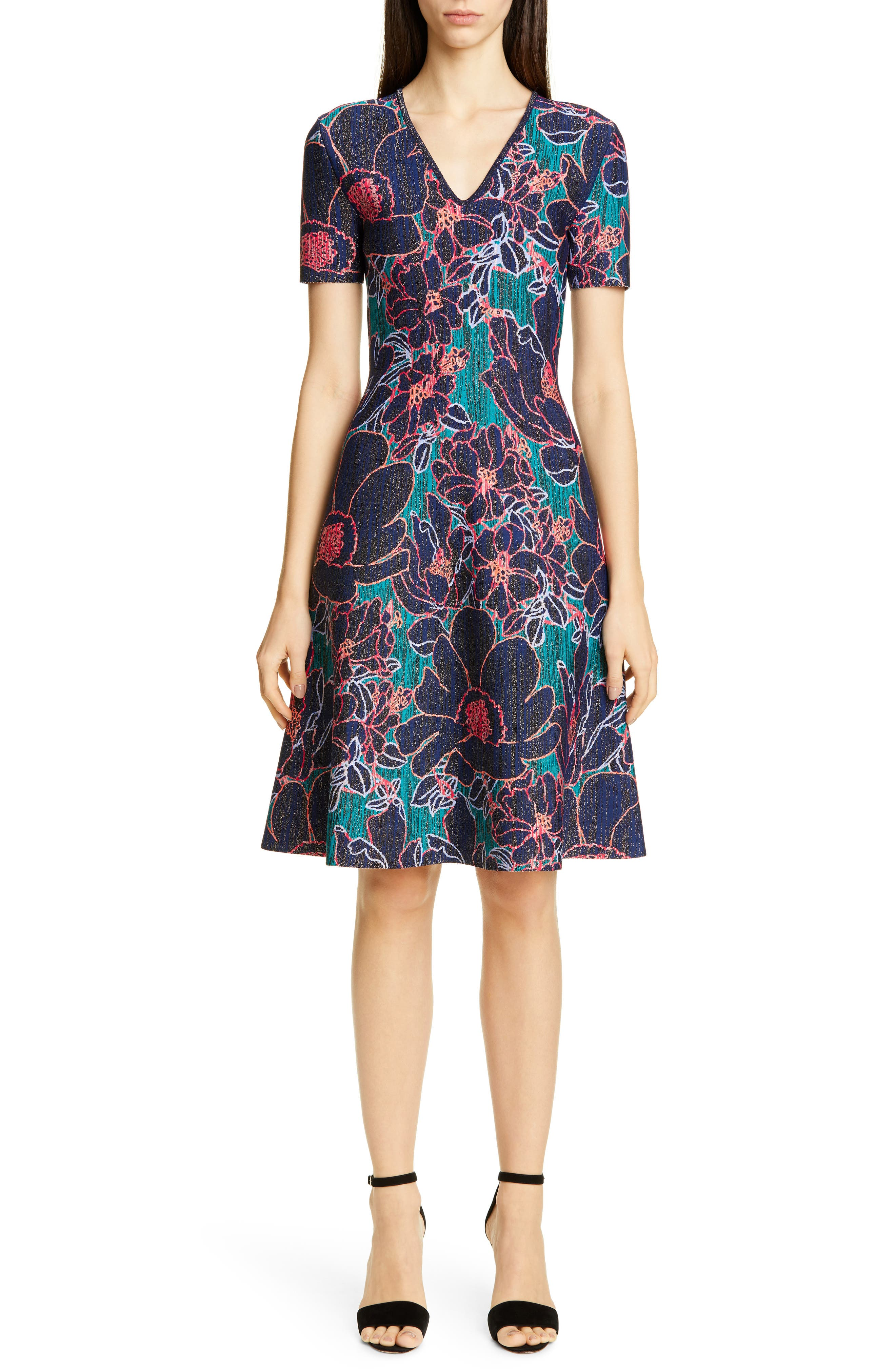 Carolina Herrera Metallic Oleander Jacquard Sweater Dress, Purple