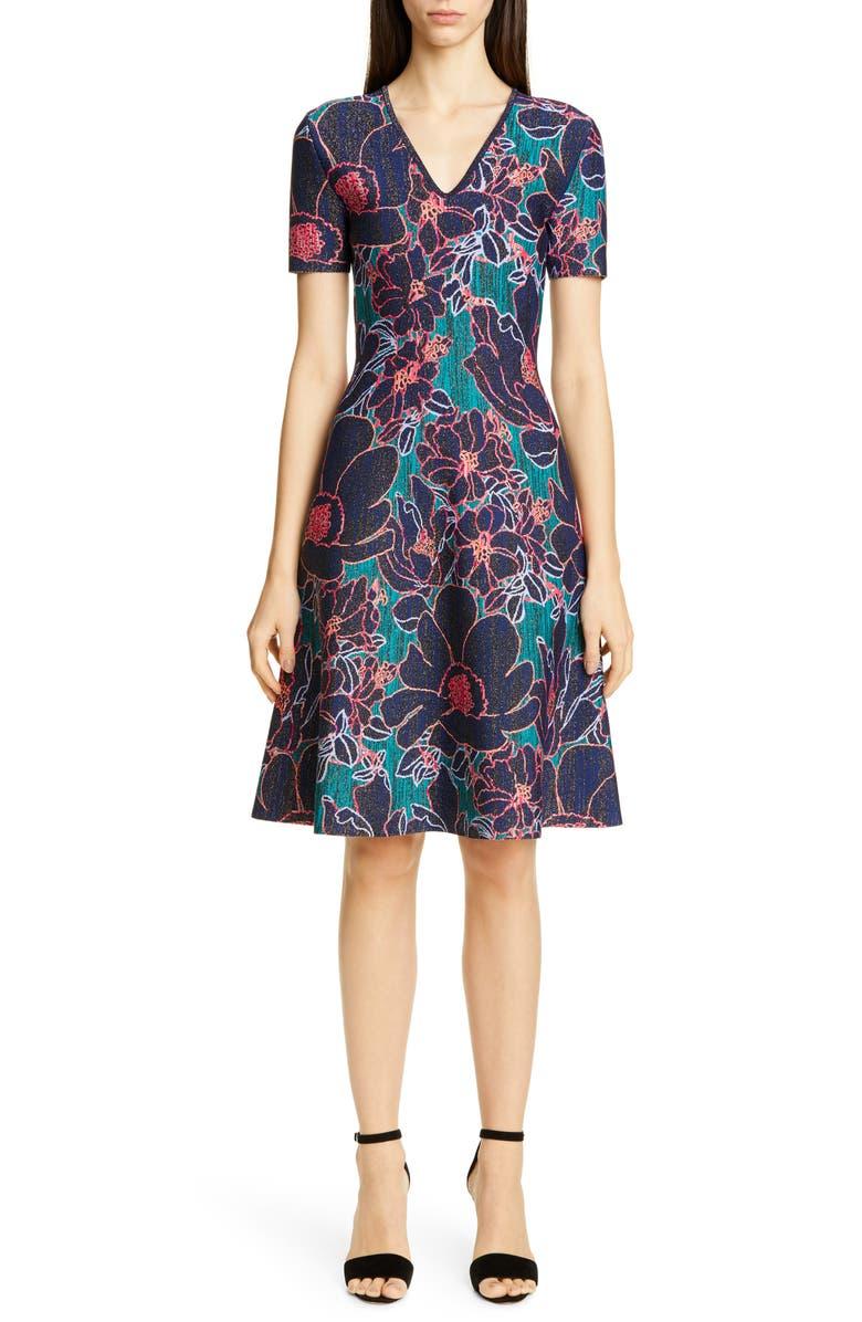 CAROLINA HERRERA Metallic Oleander Jacquard Sweater Dress, Main, color, PEACOCK MULTI
