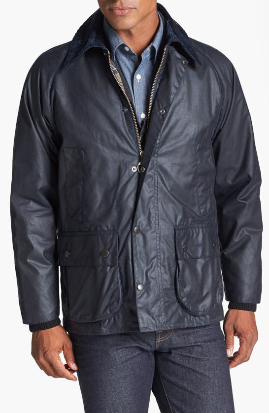 Barbour 'bedale' Regular Fit Waxed Cotton Jacket In Navy