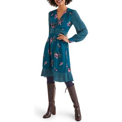 Boden Ivy Long Sleeve Mixed Print Dress, Blue