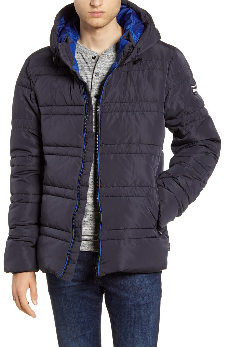 SCOTCH & SODA Channel Quilted Hooded Jacket, Main, color, NIGHT