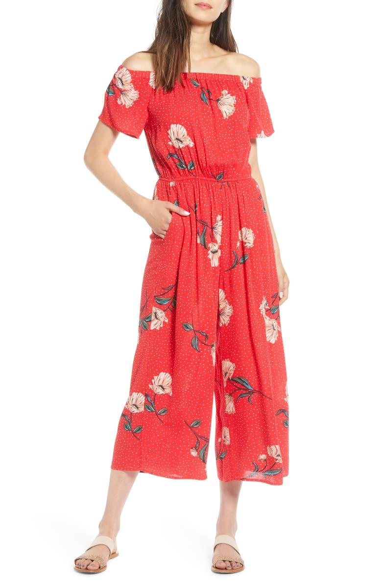 LOVE, FIRE Floral & Polka Dot Off the Shoulder Jumpsuit, Main, color, RED FLORAL