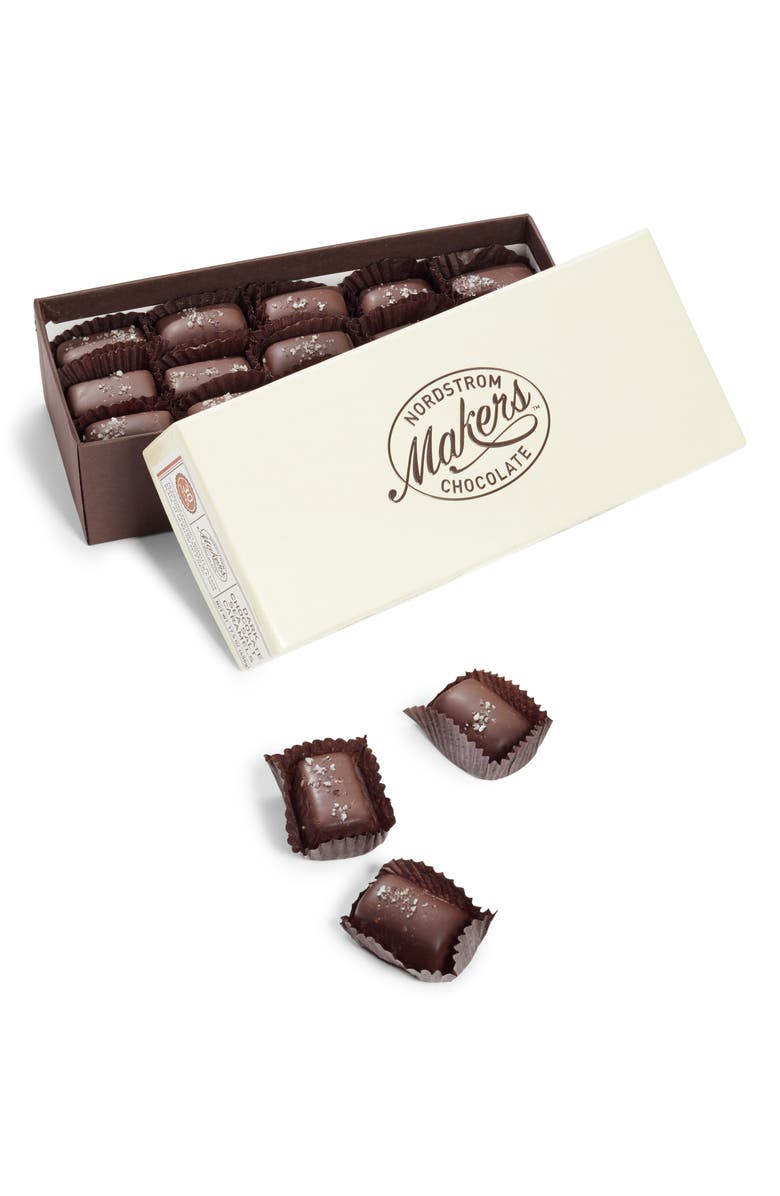 NORDSTROM MAKERS CHOCOLATE Dark Chocolate Sea Salt Caramels, Main, color, BROWN
