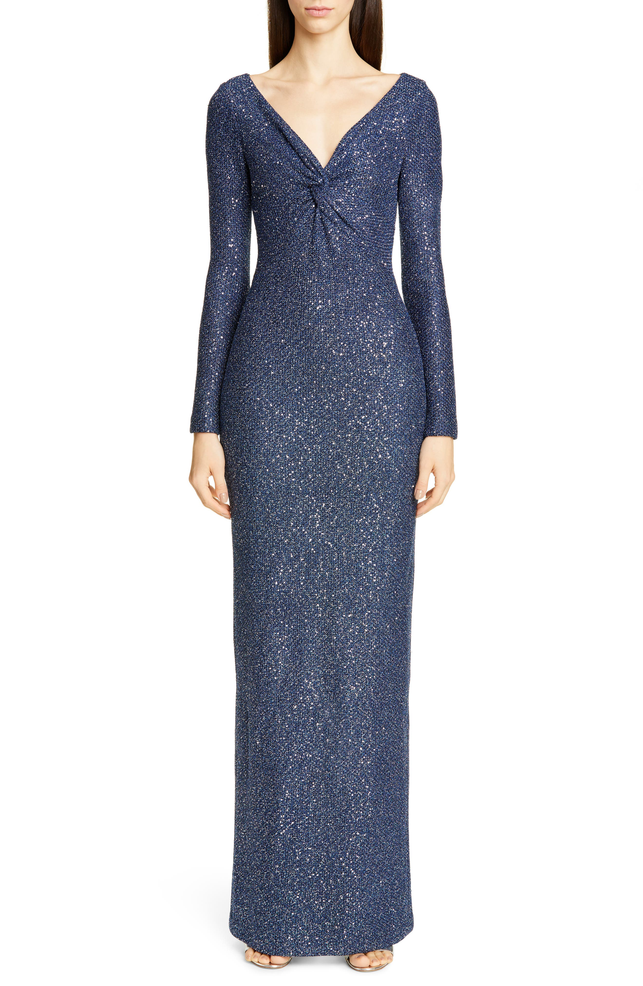 St. John Collection Long Sleeve Luxe Sequin Tuck Knit Gown, Blue