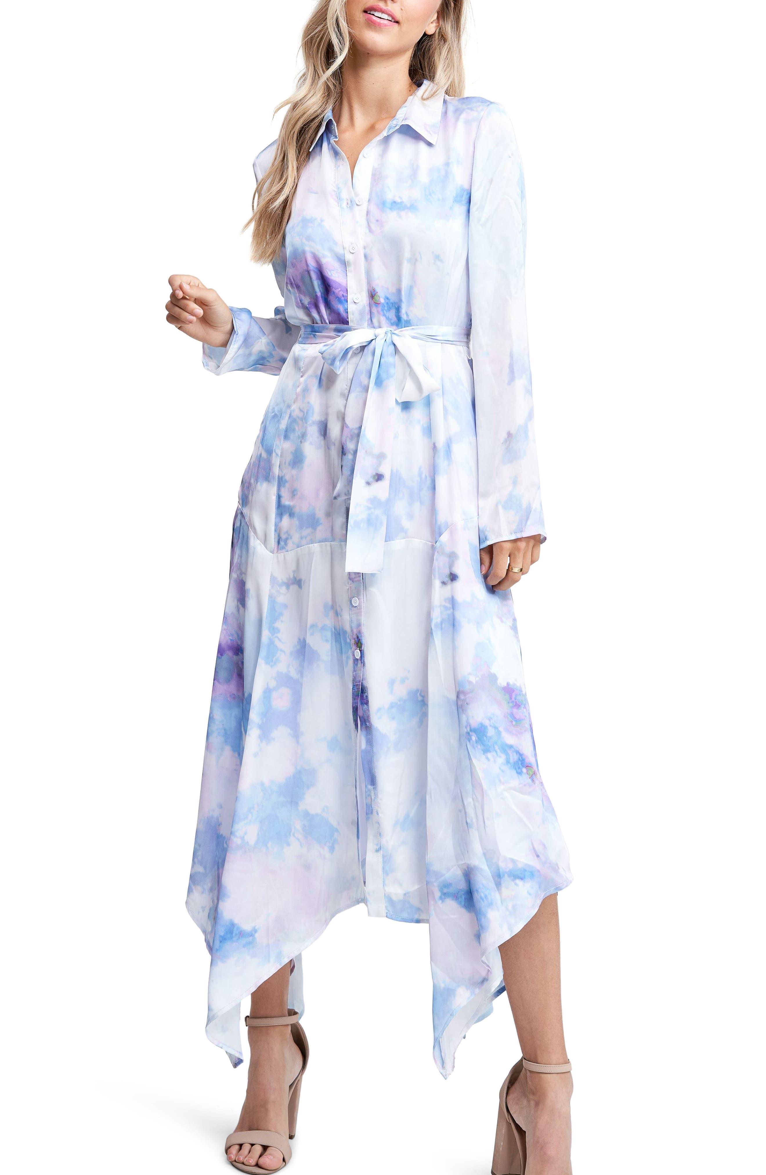 En Saison Tie Dye Asymmetrical Long Sleeve Shirtdress   Nordstrom