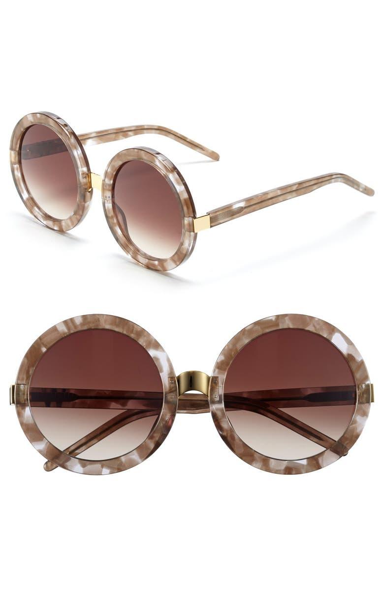 WILDFOX 'Malibu' 56mm Sunglasses, Main, color, GREY MARBLE/ BROWN GRADIENT