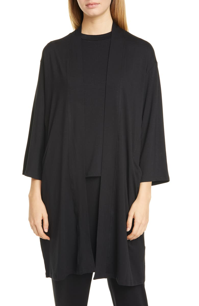 EILEEN FISHER Long Stretch Tencel<sup>®</sup> Lyocell Cardigan, Main, color, BLACK