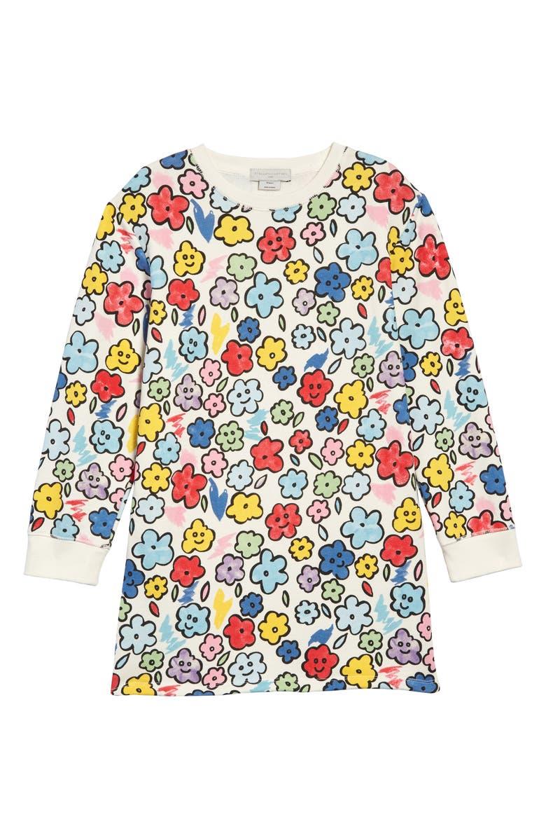 STELLA MCCARTNEY KIDS Stella McCartney Smiling Flowers Sweatshirt Dress, Main, color, 160