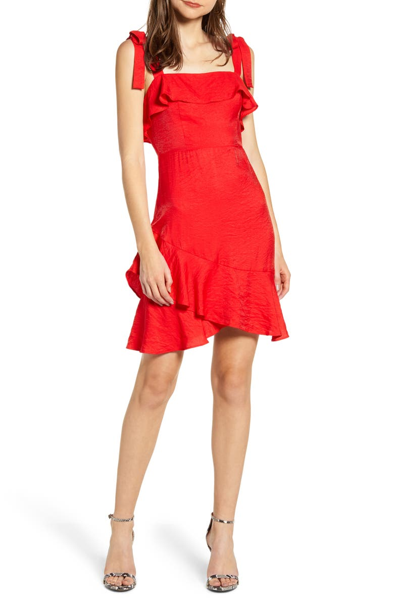 ENDLESS ROSE Ruffle Detail Tie Shoulder Dress, Main, color, RED