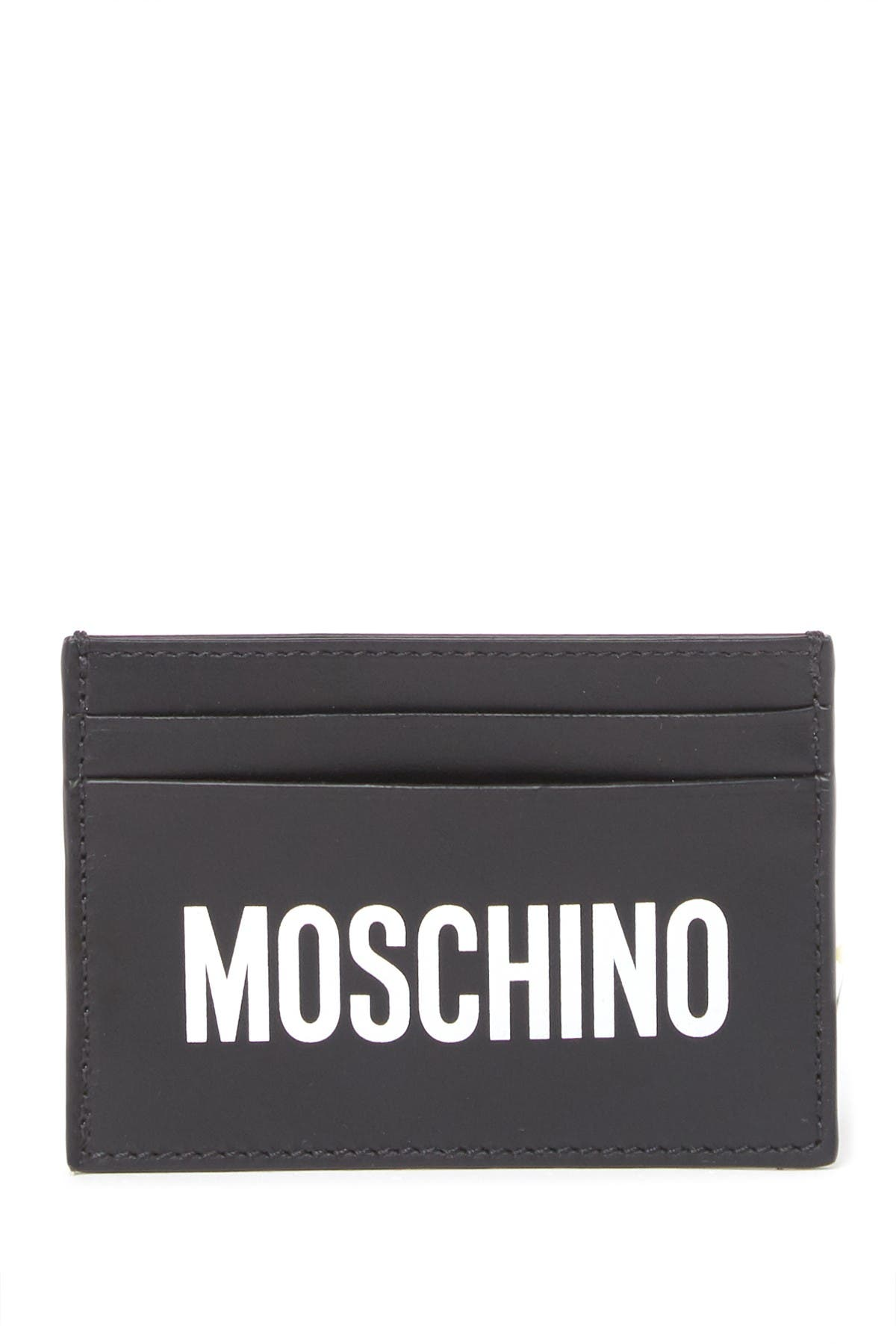 Image of MOSCHINO Logo Print Leather Cardholder Wallet