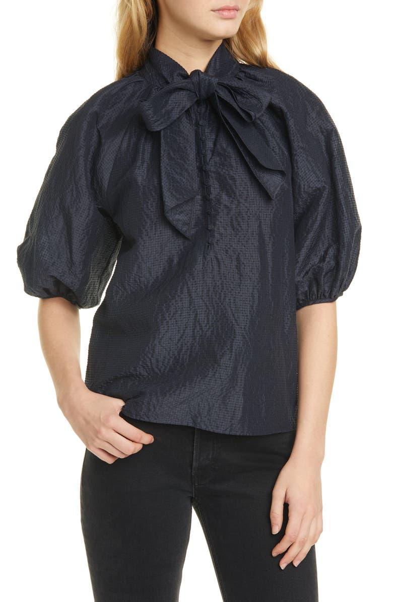 REBECCA TAYLOR Tie Neck Organdy Linen & Silk Top, Main, color, BLACK/ NAVY COMBO