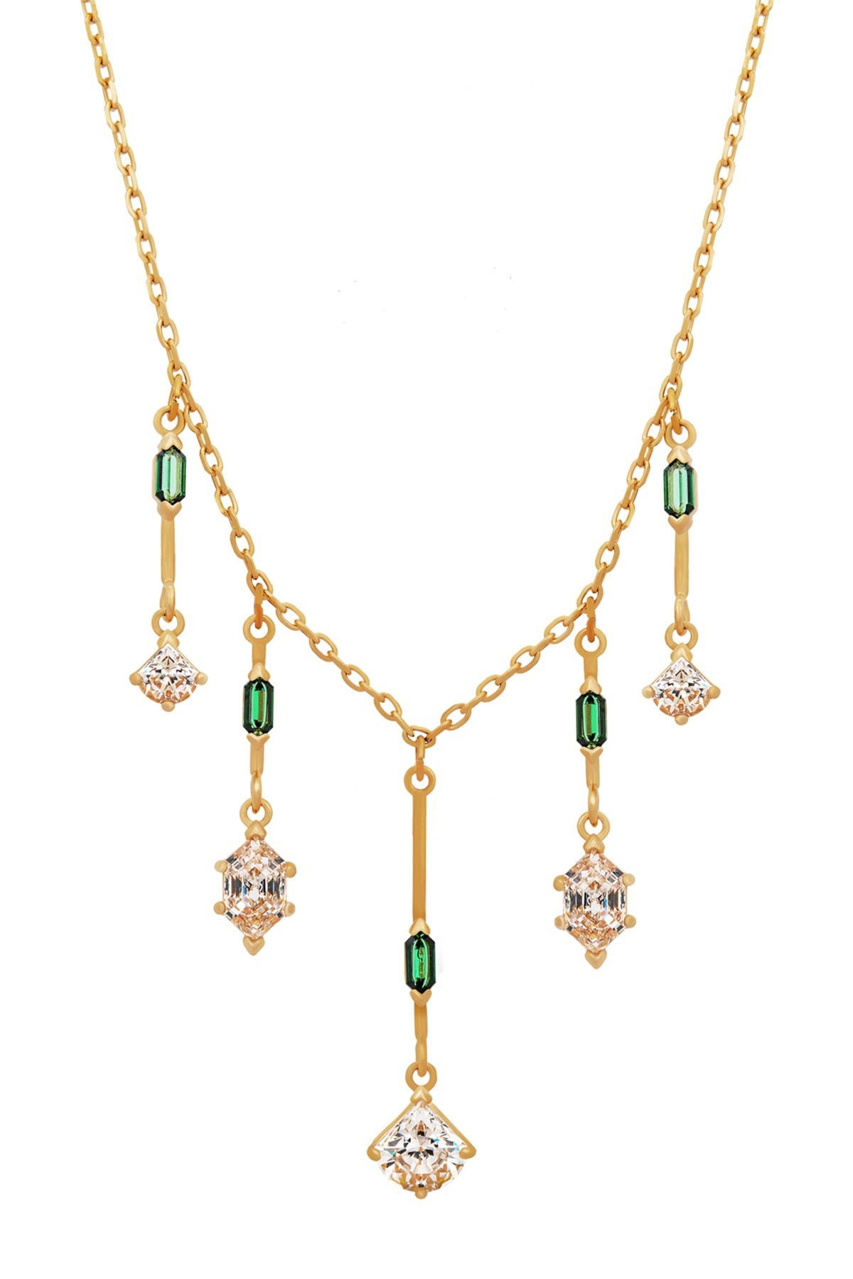 Image of Swarovski Oz 23K Yellow Gold Plated Green Swarovski Crystal & CZ Statement Necklace