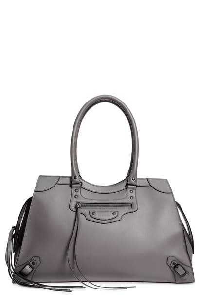 Balenciaga Neo Classic City Leather Weekend Tote In 1404 Dark Grey