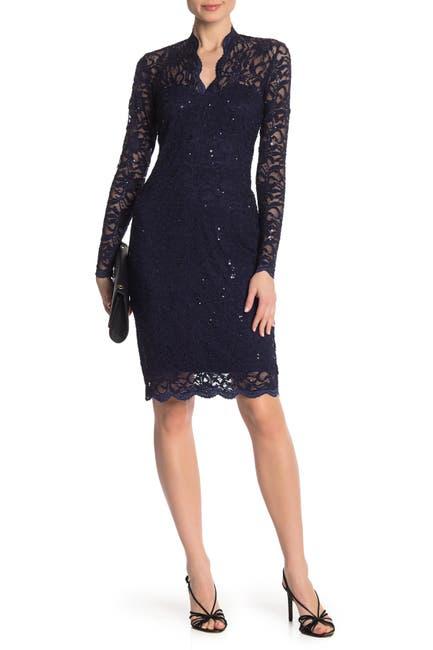 Image of Marina Scalloped Sequined Lace Sheath Dress