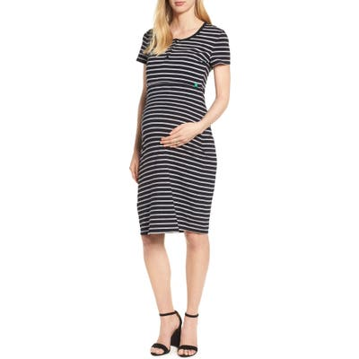 Modern Eternity Maternity/nursing Henley T-Shirt Dress, Black