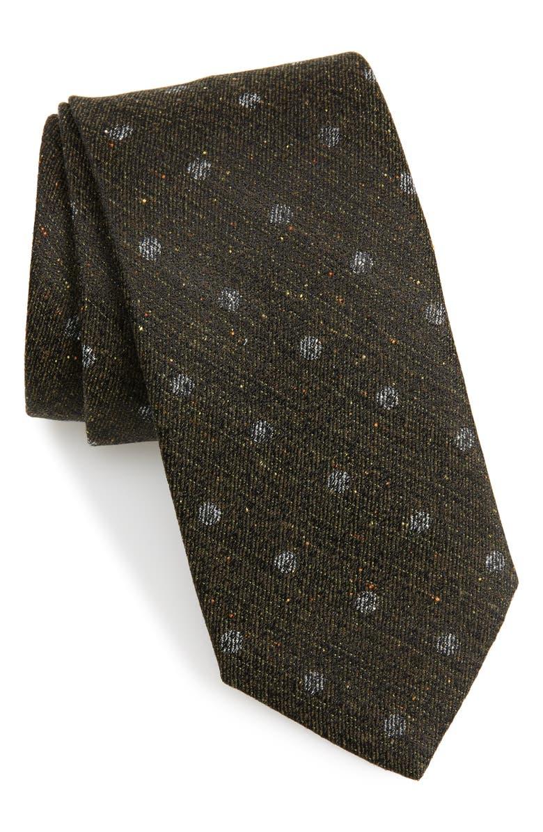 NORDSTROM MEN'S SHOP Landham Dot Silk Tie, Main, color, 001