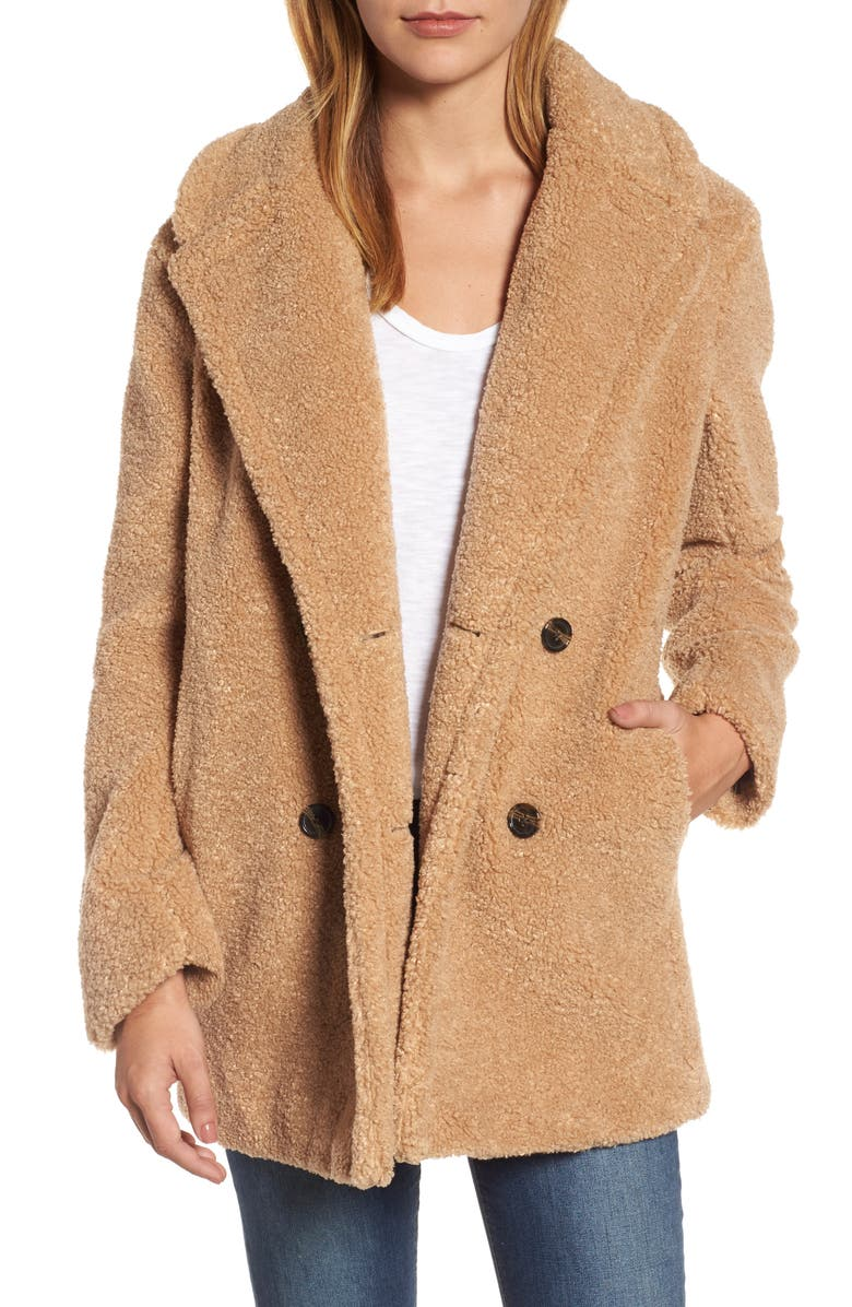 KENSIE Teddy Bear Notch Collar Faux Fur Coat, Main, color, 788