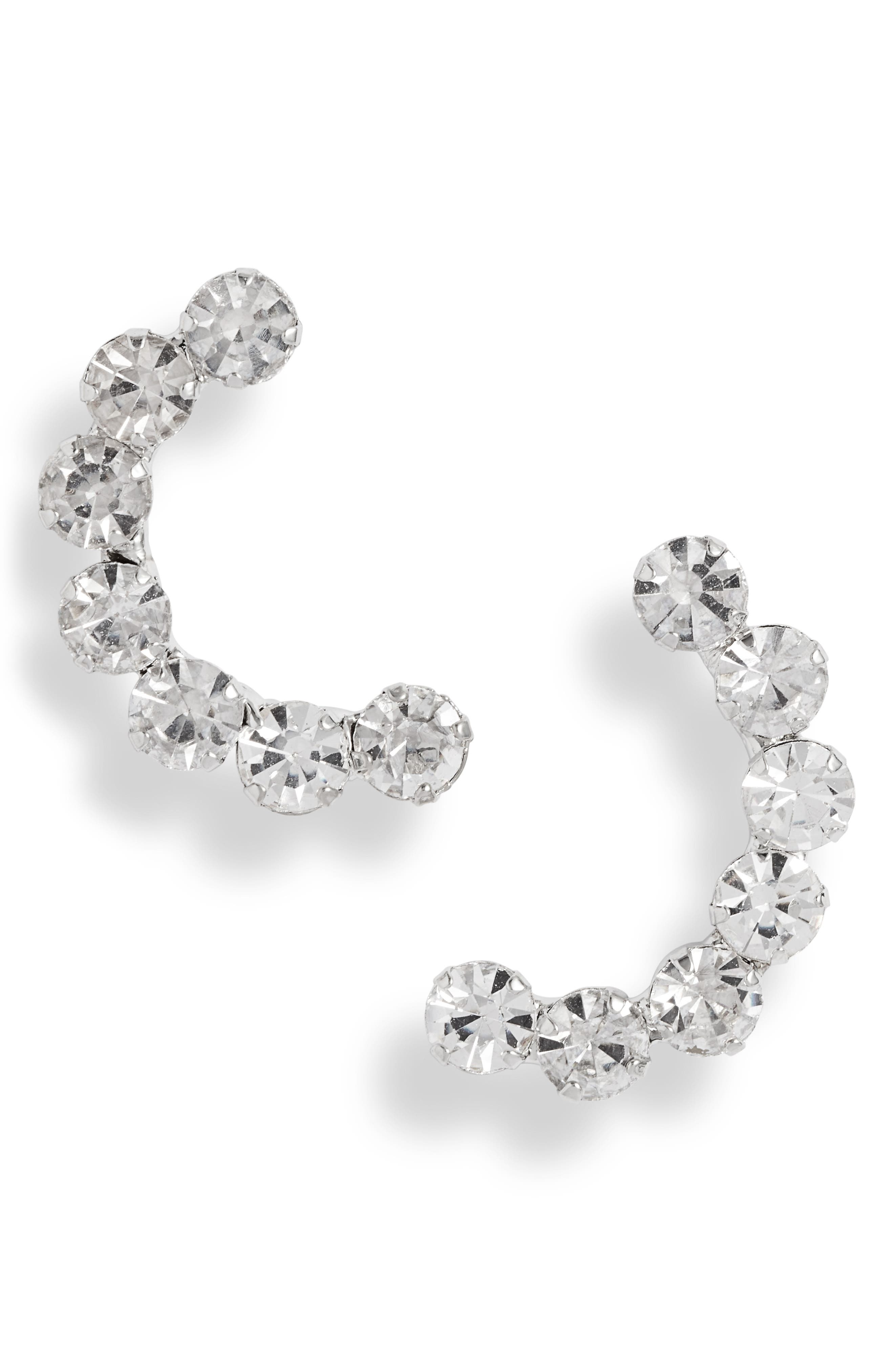 Crystal Crescent Earrings