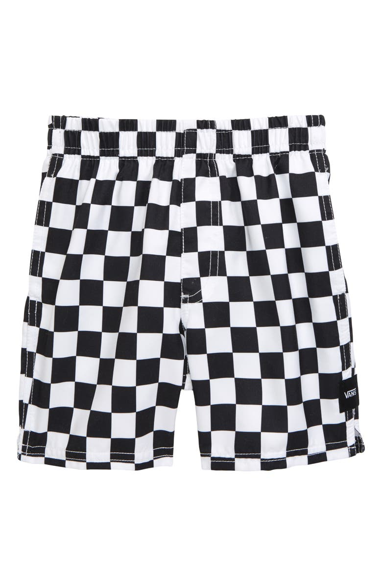 VANS Checkerboard Volley Hybrid Shorts, Main, color, BLACK-WHITE CHECKERBOARD