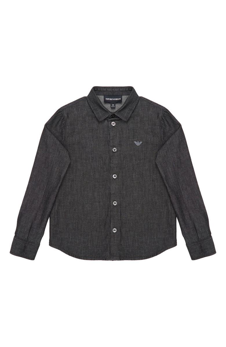 ARMANI JUNIOR Chambray Cotton Dress Shirt, Main, color, DENIM BLACK