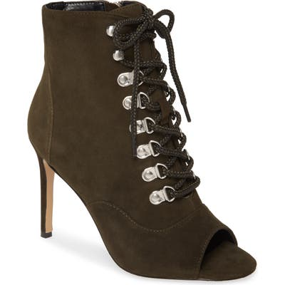 Charles David Charlye Lace-Up Peep Toe Bootie- Green