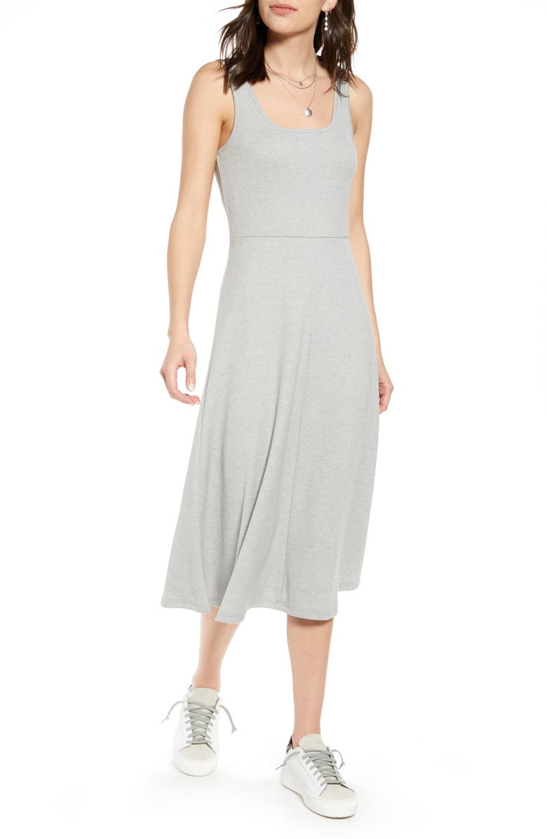 TREASURE & BOND A-Line Tank Dress, Main, color, GREY HEATHER