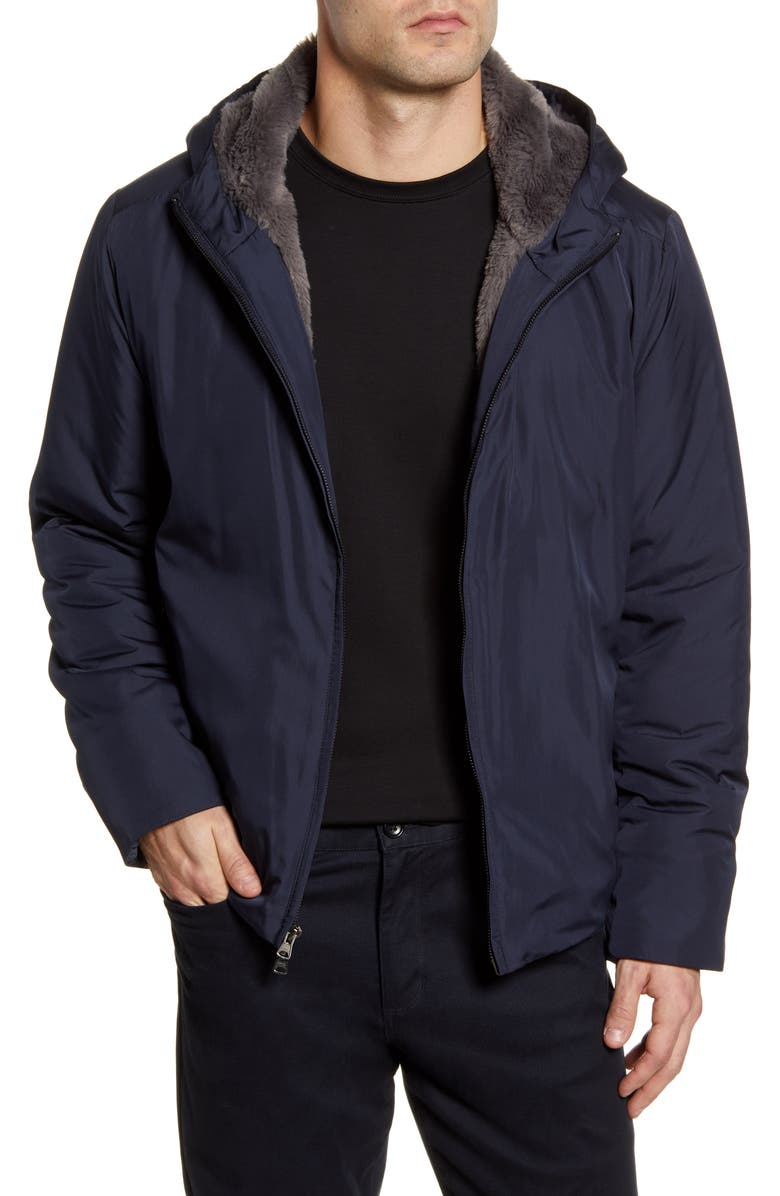 ZACHARY PRELL Glasgow Faux Fur Lined Jacket, Main, color, NAVY