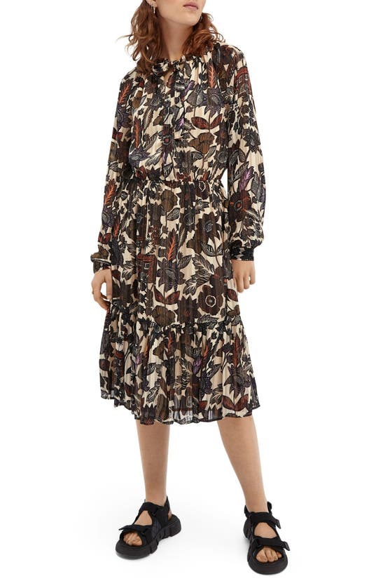 Scotch & Soda PRINT LONG SLEEVE CHIFFON MIDI DRESS