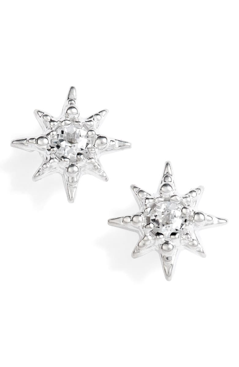 ANZIE Micro Starburst Earrings, Main, color, SILVER