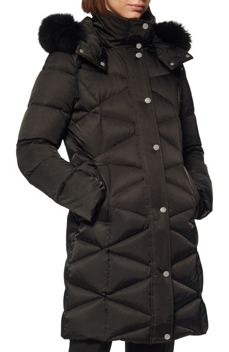 ANDREW MARC Truvy Genuine Fox Fur Trim Down & Feather Fill Parka, Main, color, BLACK