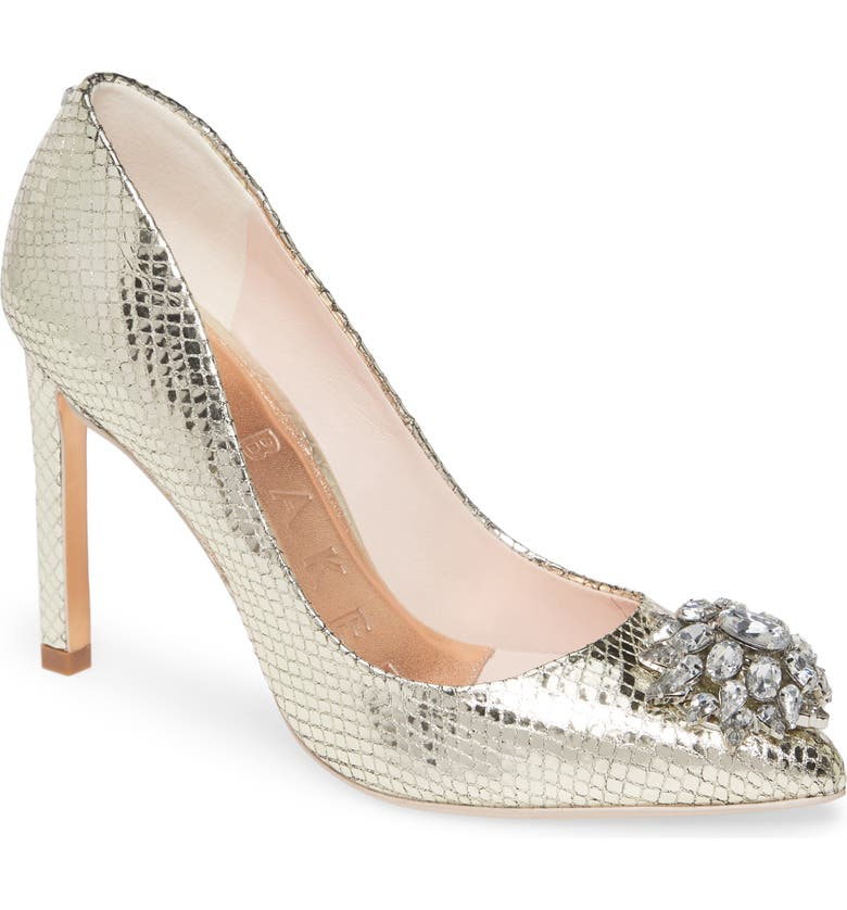 TED BAKER LONDON Elannam Crystal Embellished Pump, Main, color, BRONZE METALLIC LEATHER