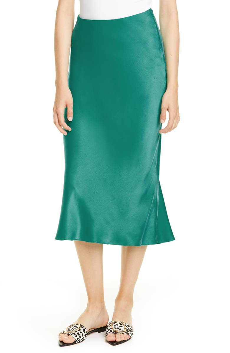 REBECCA TAYLOR Charmeuse Trumpet Skirt, Main, color, GREEN