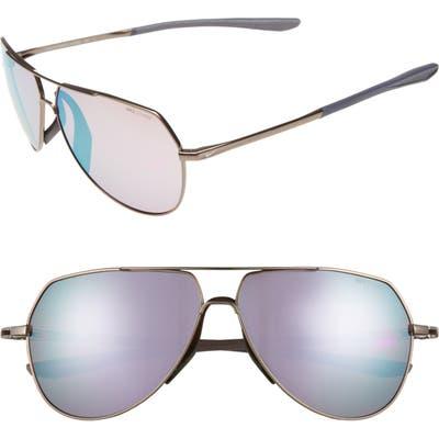 Nike Outrider E 62Mm Oversize Aviator Sunglasses - Pewter/ Golf Milky Blue