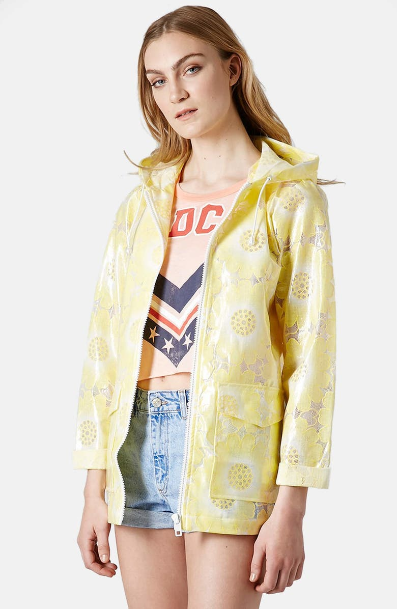 TOPSHOP Floral Lace Plastic Mac Jacket, Main, color, 700