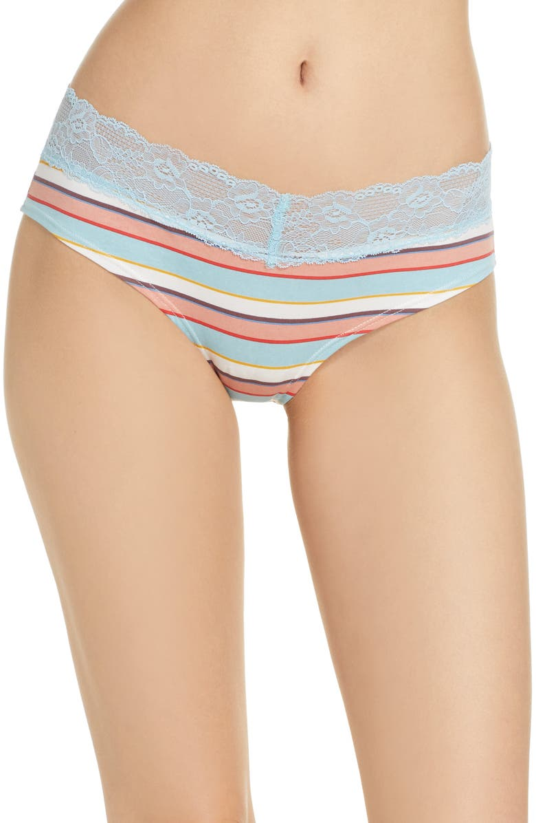 BP. Lace Trim Hipster Panties, Main, color, CORAL CLAY NORI STRIPE